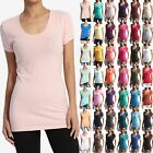 TheMogan Casual Plain Scoop-Neck Short Sleeve T-Shirts WOMEN