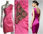 DAVID MEISTER $468 Pink Beaded One Shoulder Stretch Satin Dress Sz 10 NEW