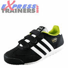 Adidas Originals Dragon Junior Kids Velcro Trainers Black White Solar Green