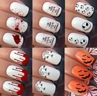 NAIL ART STICKERS WATER TRANSFER DECALS WRAPS ZOMBIE BLOOD SPIDER WEB BAT TURTLE