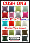 High Quality Chenille Piped Edge 17 Inch Cushions - Many Colours - Plain Dyed