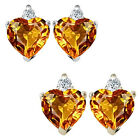 0.01 Carat Diamond Heart Citrine Birth Gemstone Earrings 14K White/Yellow Gold