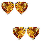 7mm Heart CZ Citrine Birthstone Gemstone Stud Earrings 14K White/Yellow Gold