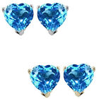 7mm Heart CZ Blue Topaz Birthstone Gemstone Stud Earrings 14K White/Yellow Gold