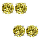 6mm Round CZ Citrine Birthstone Gemstone Stud Earrings 14K White Yellow Gold