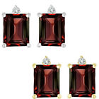 0.01 Carat TCW Diamond Octogon Garnet Gemstone Earring 14K White Yellow Gold