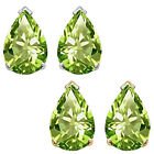 8x5mm Pear CZ Peridot Birthstone Gemstone Stud Earrings 14K White Yellow Gold