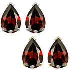 8x5mm Pear CZ Garnet Birthstone Gemstone Stud Earrings 14K White Yellow Gold