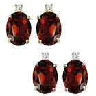 0.01 Carat TCW Diamond Oval Garnet Gemstone Earrings 14K White Yellow Gold