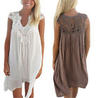 Ladies Sleeveless Party Tops Loose Summer Beach Lace Embroidery BOHO Dress UK