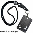Specialist ID THREE Card Heavy Duty Plastic Badge Holder with Lanyard - Top Load фото
