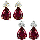Pear Shape Ruby Gem Birth stone Earrings Silver White/Yellow Gold Plated