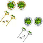 6mm Peridot Birthstone Gem Stud Halo Solitaire Round Silver Earrings