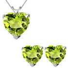6mm Heart CZ Peridot Birth Gemstone Pendant Earring Set 14K White Yellow Gold