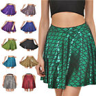 Women Summer Fish Scale Short Mermaid Print Party Causal Mini Pleated Skirt