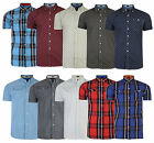 Firetrap Mens New Short Sleeve Check Paisely Anchor Cotton Casual Pattern Shirt