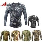 Tactical Camouflage Long Sleeve Shirt Quick Dry Skin Tight Men's T-Shirts S-XL