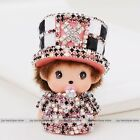 Monchhichi crystal rhinestone hat cap key chain cartoon doll car hangbag pendant