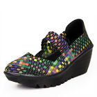 Colorful Woven Box Check Platform Sport Shoes Women Fashion Elastic Strap Wedges