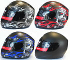 VIPER RS-44 SKULL EVO MATT BLACK FULL FACE MOTORCYCLE MOTORBIKE HELMET