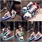 Fashion LED USB Light Charge Men Women USA Flag Sportswear Luminous Glow Shoes