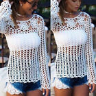 Summer Women Sexy Long Sleeve Shirt Casual Lace Blouse Loose Cotton Top T Shirt