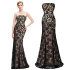 LACE Long Sequins Prom Bridesmaid Dress Party Evening Pageant Wedding Ball Gown