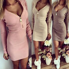 UK Fashion Sexy Women Autumn Winter Bodycon Slim Cocktail Long Sleeve Mini Dress