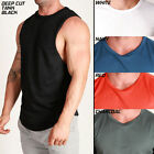 Men's Poly DEEP CUT TANK TRAINING Top DRY FABRIC Slim FIT Running Gym Workout