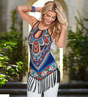 Women Tank Top European American Fashion Printing Tassels Stitching T-Shirt Vest