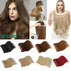 16-18 inch Remy Human Hair Extension Hidden Halo Invisible Wire Weft Full Head