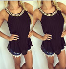 New Womens Sleeveless Long Tops with Nacklace Summer Casual Loose T-Shirt Blouse
