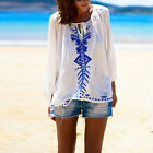 Women White Ethnic Print Casual Chiffon Blouse Boho Long Sleeve Loose Shirt Tops