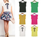Women's Fashion Bow Casual Tops Lady Lace Sleeve Shirt Chiffon Blouse CCC Hot