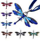 Retro Dragonfly Necklace Crystal Pendant Sweater Rhinestone Chain New