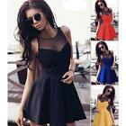 Fashion Women Sleeveless Lace Splice Party Clubwear Dresses Short Mini Dress LJ