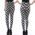 NEW SEXY WOMEN'S LEGGINGS Checked Pattern Black White stretch Jeggings size 6-14