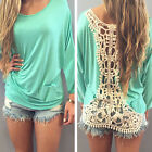 New Fashion Sexy Lace Womens Short Sleeve T-shirt Casual Tops Blouse CC Hot Sale