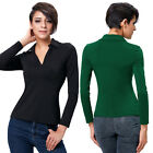 New Casual Womens Blouse Sexy V-Neck Long Sleeve Ladies Top T shirt Short Tops