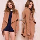 Slim Retro Ladies Wool Trench Overcoat Jackt Waterfall Womens Trench Parka TXWD