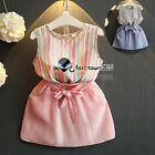 Summer Baby Girl Child Kids Stripe Vest T-Shirt+Bow Knot Skirt Dress Sets 2-7Y
