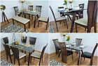 Used, Modern Glass Dining Room Table And 4/6 Chairs Set Solid Wood Kitchen Furniture for sale  United Kingdom