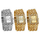 Women Girls Ladies FULL Rhinestone Square Dial Wrist Watch Dress Quartz Bracelet image