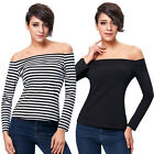 KK Sexy Womens Long Sleeve Off Shoulder Cotton T-Shirt Tops Shirt Bodycon Casual