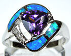 Amethyst & Blue Fire Opal Inlay Solid 925 Sterling Silver Ring Size 6 - 8