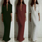 Sexy Womens Summer Long Cotton Evening Party Beach Dress 3 Colors 3/4 Sleeve New