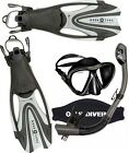 FX Proflex FULL set + US DIVERS Black ADULT Set - Mask Fins and Snorkel