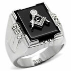 Masonic Ring Stainless Steel Black Agate Freemason Symbol