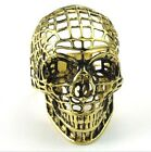 316L Stainless Steel Titanium Ring Gold Hollow Gothic Skull Rock N' Roll M071328
