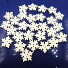 Novelty White Snowflake Wooden Buttons Christmas Card Sewing Scrapbook Craft